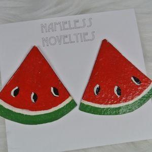 3/$15 90s Paper Mache Watermelon Earrings